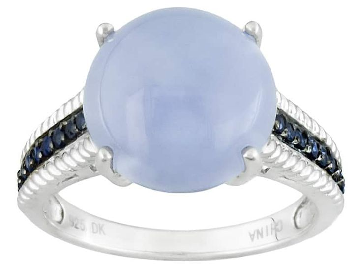 Round Cabochon Blue Chalcedony With .18ctw Round Blue Sapphire Sterling Silver Ring