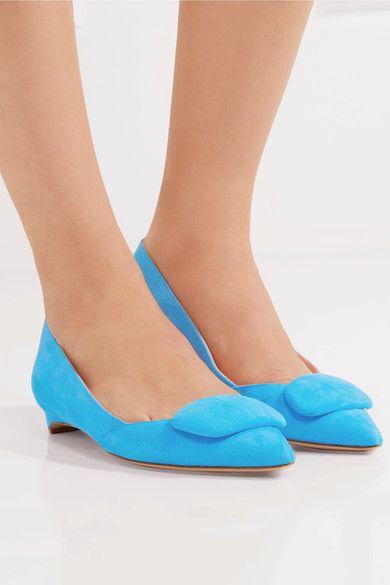 Rupert Sanderson - Aga Suede Point-toe Flats - Bright blue - IT36.5