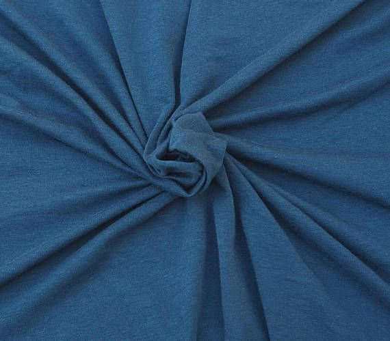 Bamboo Cotton Lycra Fabric Jersey Knit by Yard Teal 4 Way