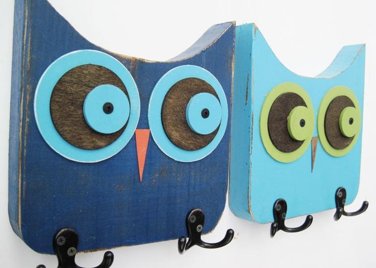 navy blue owl wall hooks