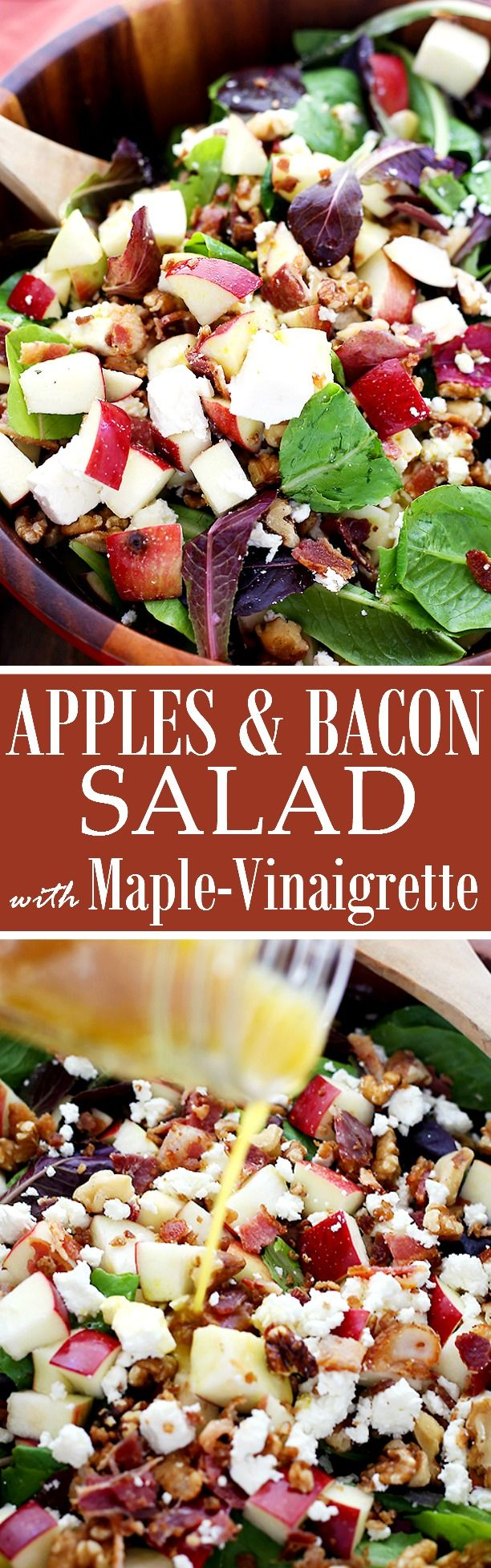 Apples and Bacon Salad with Maple-Balsamic Vinaigrette - Made with apples, bacon, feta cheese and walnuts. This wonderful Fall-flavored salad is sweet, tangy, crunchy, and beyond delicious!