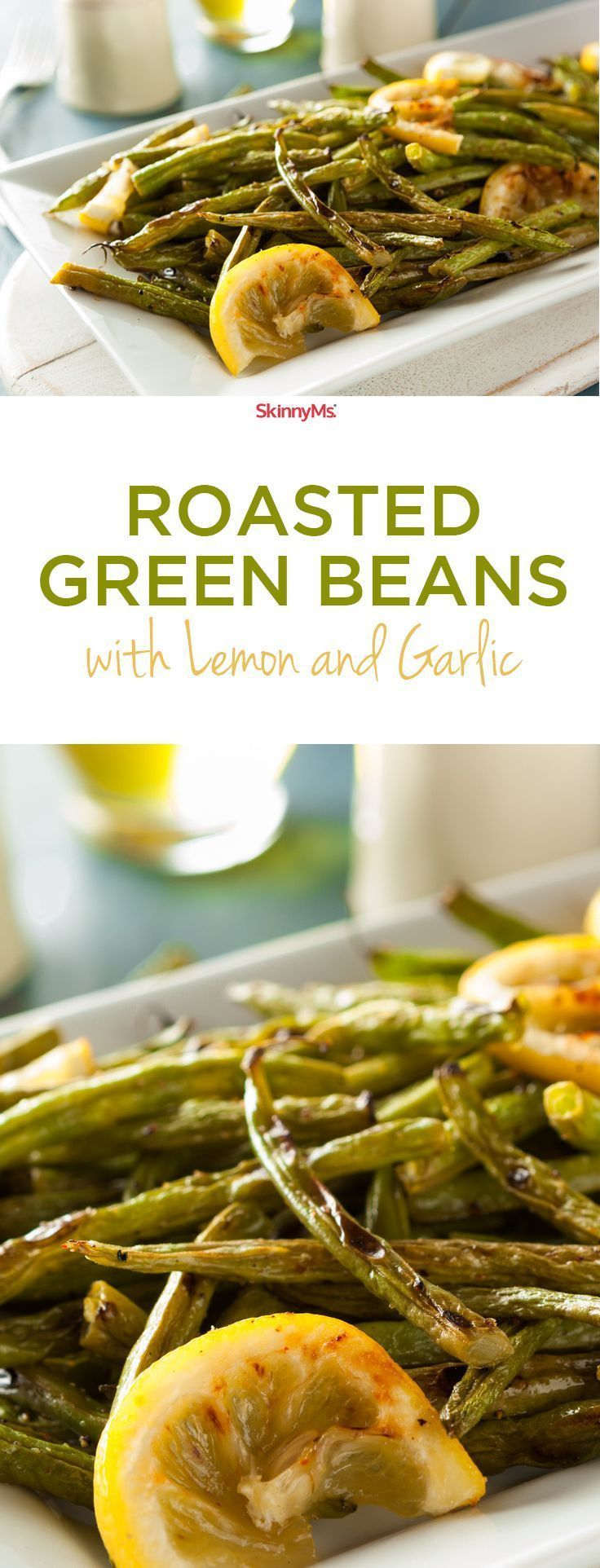 This Roasted Green Beans with Lemon & Garlic is such an easy and delicious side! #sidedishes #skinnyms