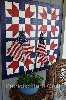 Porch barn quilt I made for Summer display  by Primcyn  http://primcyn1.blogspot.com