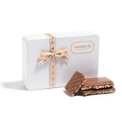 Milk Honeycomb Block with special I love you decoration in a white gift tin. #ValentinesDay #HaighsOnline