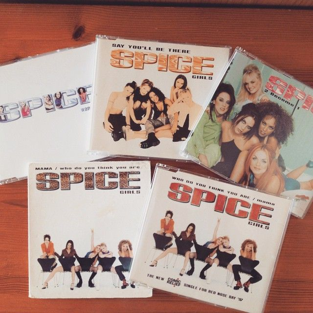 """Spice album singles - Wannabe, SYBT, 2 Become 1, Mama and WDYTYA CDs! ✌️#spicegirls #spice #cd #singles #girlpower #music #90s"""