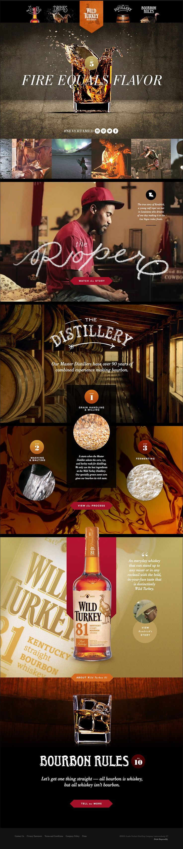 Unique Web Design, Wild Turkey Bourbon #WebDesign #Design