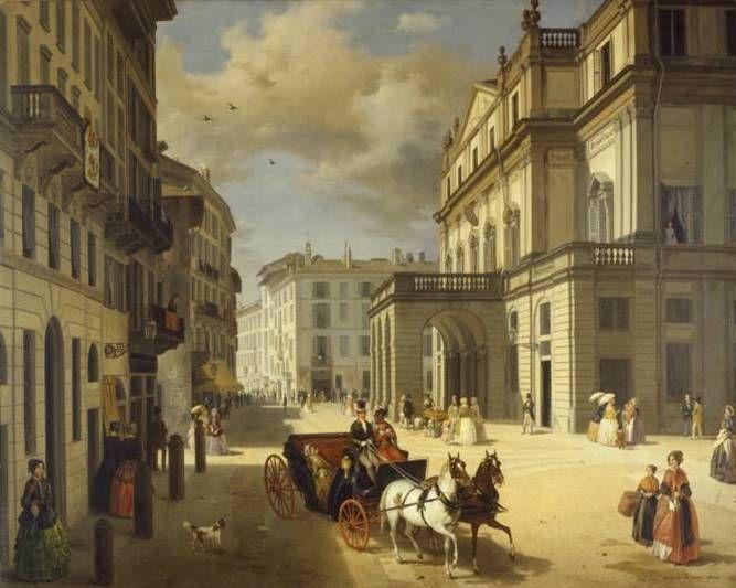 Angelo Inganni, la facciata del Teatro alal Scala, 1852, Milano Milano Giorno e Notte - We Love You! www.milanogiornoenotte.com