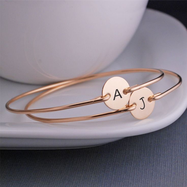 Custom Bracelets, Initial Jewelry, TWO, Custom Personalized Gift for Mom, Engraved Gold Bracelets, Mother's Day Bracelets