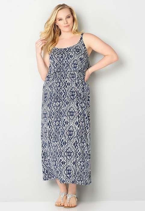Длинные платья и сарафаны в стиле бохо-шик для полных модниц американского бренда Avenue, лето 2017