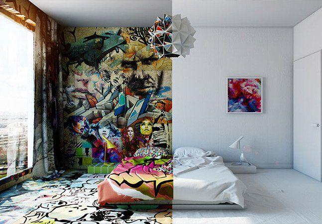 """Não há limites para a criatividade, especialmente quando o assunto é decoração. O artista ucranianoPavel Vetrovadicionou uma boa dose de criatividade ao elaborar um design moderno e arrojado para um quarto de hotel, dividindo-o em dois mundos opostos: um grafitado e um minimalista. O caos e as cores da arte urbana na obraSunday(""""Domingo""""), inspirada no trabalho Panic Room,do artista francês TILT, se contrapõe ao pedaçotodo branco do mesmo ambiente. Para criá-lo, o designer e diretor de…"""