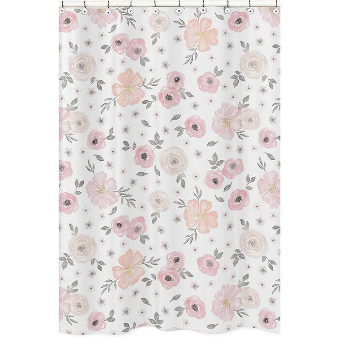 Watercolor Floral Single Shower Curtain Floral Shower Floral Shower Curtains Pink Bedroom Decor