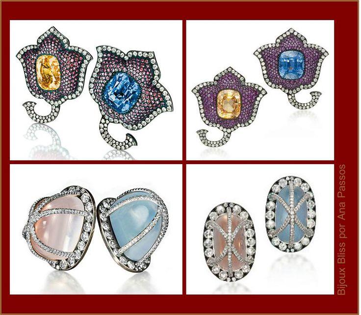 These are the catalogue views.  Earrings in mixed colors.    Brincos Tulipa (1987) com safiras centrais amarela (21,40 quilates) e azul (23,80 quilates), ambas em lapidação cushion, pavê de rubis e diamantes, em ouro e prata. Brincos (2001) com quartzo rosa (17,32 quilates) e pedra da lua (15,79 quilates) ambos em lapidação cabochão alto, com pavê de diamantes lapidação brilhante e lapidação simples em platina, ouro e prata