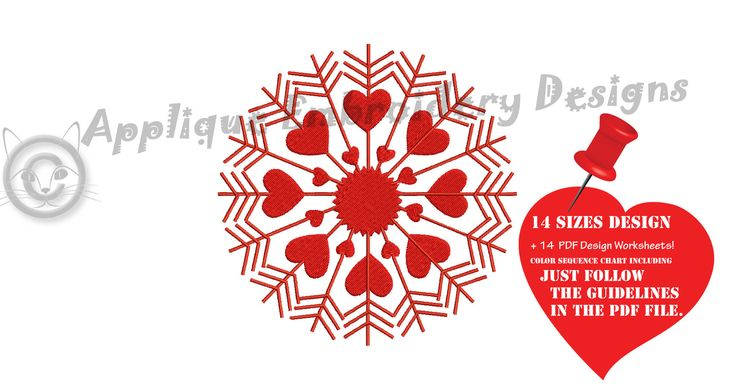 Excited to share the latest addition to my #etsy shop: Snowflake Embroidery Design-Christmas Embroidery-Frozen Snowflake-Hearts Snowflake-Machine Embroidery Patterns-Instant Download-PES http://etsy.me/2mUPL1k #supplies #christmas #quilting #machineembroidery