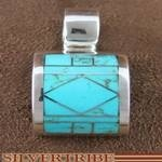 Southwest Jewelry Genuine Sterling Silver and Turquoise Inlay Pendant