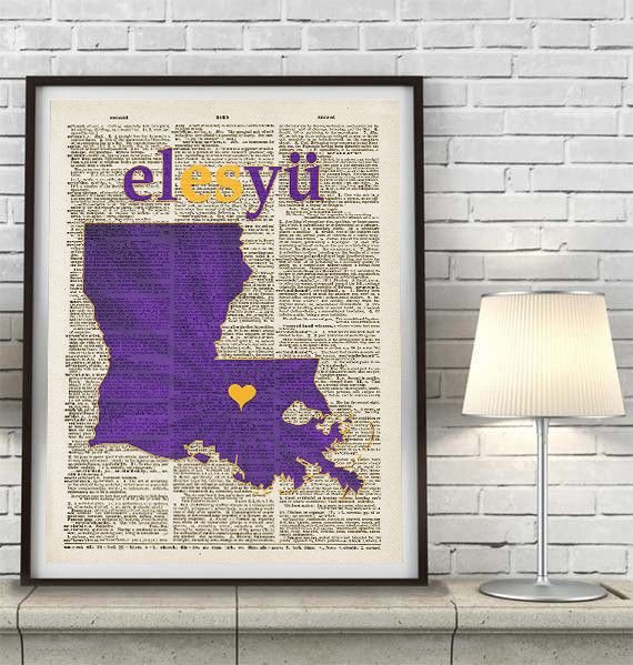 LSU Louisiana State University Tigers Inspired Phonics/Phonetic ART PRINT Using Old Dictionary Pages, Unframed #LSU #tigers #geauxtigers