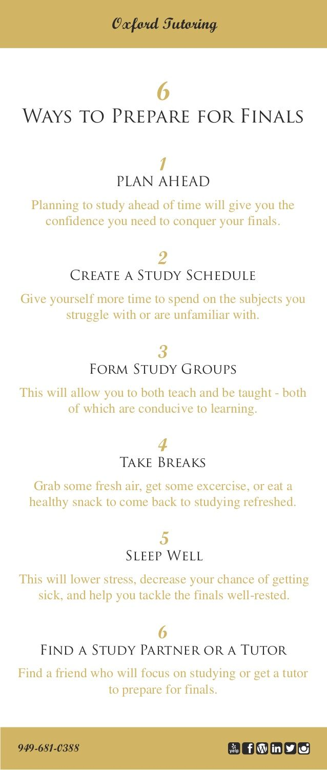 Getting ready to take your finals? Check out Oxford Tutoring's list of 6 ways to prepare for finals.  Still feeling unprepared? Schedule a session with one of our expert tutors to conquer your final exams. (949) 681-0388.