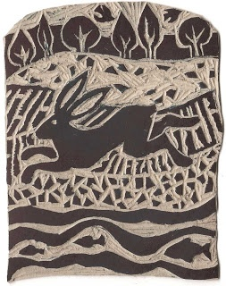 lino block for 'fur fin & feather'