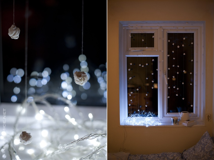 DIY snow from cutlet frills or any other paper.  Christmas decorations.