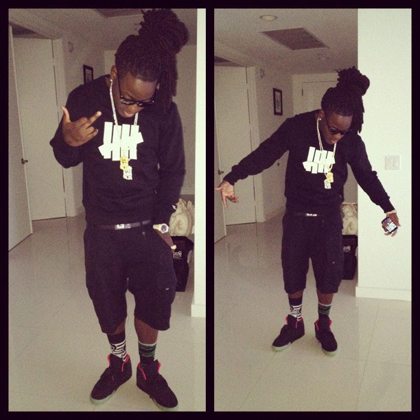 Ace Hood wearing Nike Air Yeezy 2 Black Solar Red