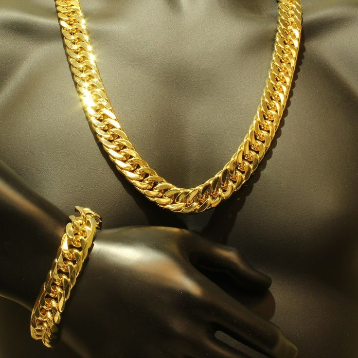 Mens Thick Tight Link Yellow Gold Finish Miami Cuban Link Chain And Bracelet Set