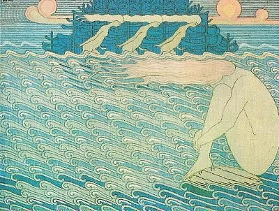 Joseph Alanen. Illustration for the Kalvala. Neiet nietten nenissä (the girl on the rock), 1919/1920.