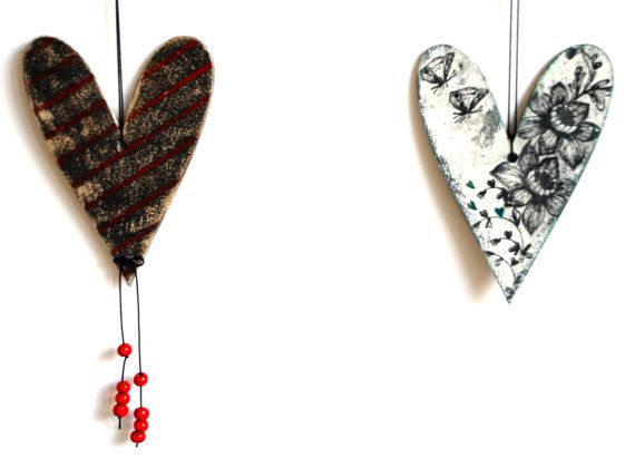 set of 2 vintage wooden hanging hearts white red turquoise