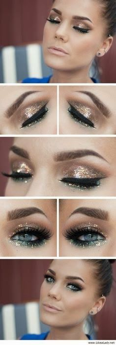 Gold and Green Sparkly Smokey Eye look - perfect for nights out this festive party season #holidays...x