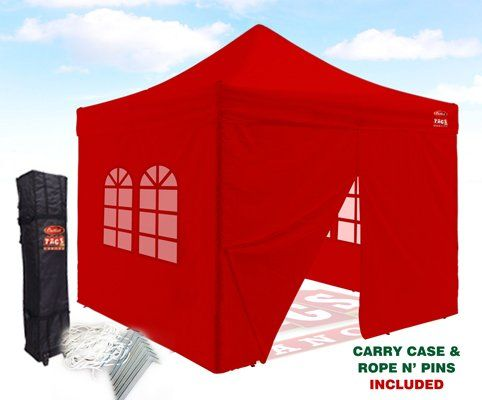 Outlet Tags Canopy  10ftX10ft with 4pc WALLS PopUp Tent for Vendors BBQ Sun Shelter Sports Teams Outdoor Events  RED *** More info could be found at the image url.(This is an Amazon affiliate link and I receive a commission for the sales)