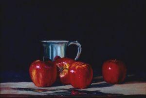Apples & Pewter - Oil on canvas board - Artist John Beattie