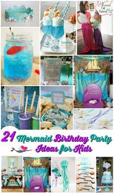 21 mermaid birthday party ideas for kids. Cute party ideas to help you create your own fun-filled aqua party.