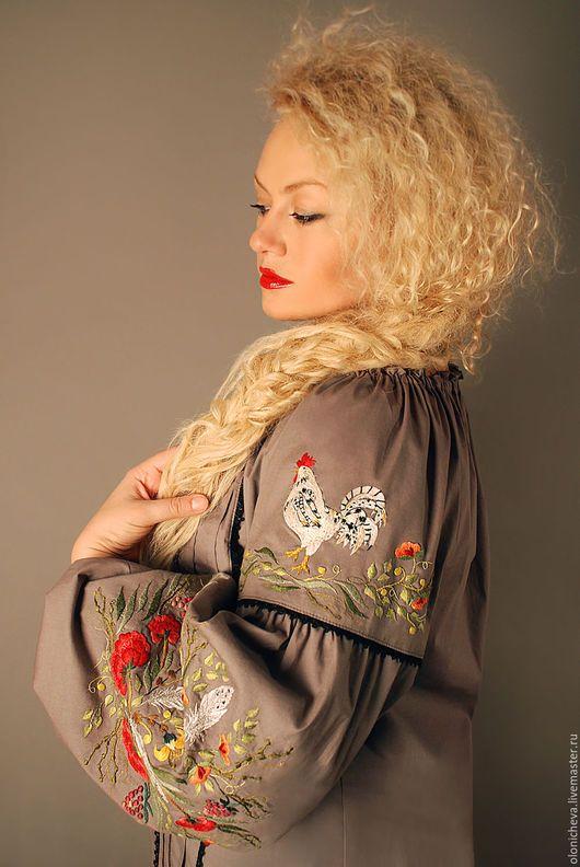 Блузки ручной работы. Вышитая блуза I would wear a chicken blouse