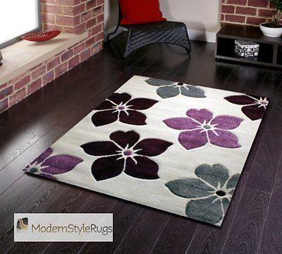 Cream Purple Plum Grey Flowers Pattern Rug Very Modern Design In 2 Sizes