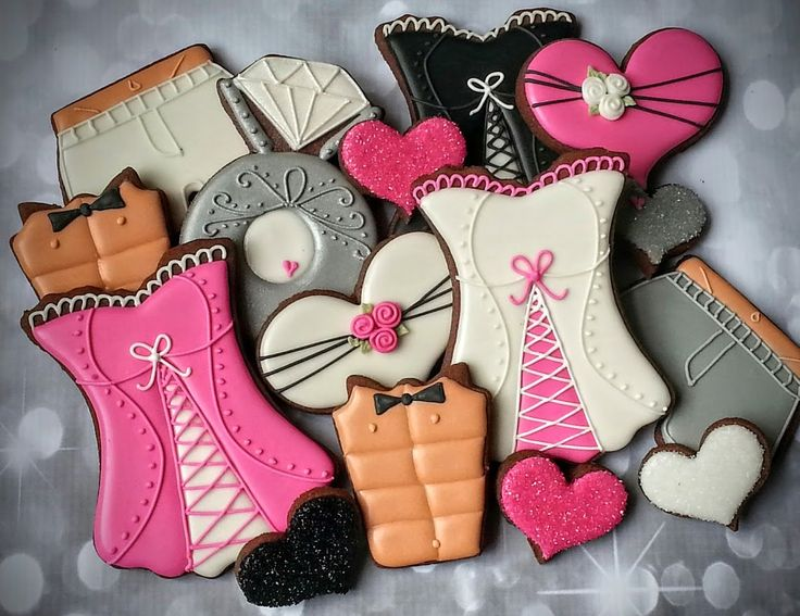 Bachelorette Party Cookies, Corset, six pack, boxer shorts, sparkle hearts, diamond ring, pink, black, silver, wedding, royal icing decorated cookies