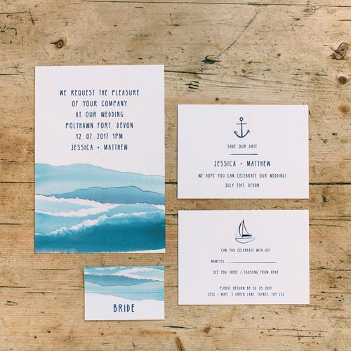 Dearly Beloved Wedding Stationery & Design - This Nautical wedding stationery features sail boat illustrations, collaged waves and coordinating striped backs. Hand made in the Dearly beloved studio this design was created by painting artist paper with deep blue ink and ripping into ocean waves. A simple yet chic design perfect for a sophisticated beach wedding!