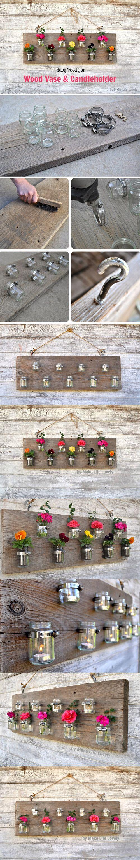 Jarrones colgantes con tarros de vidrio / http://www.craft-o-maniac.com/
