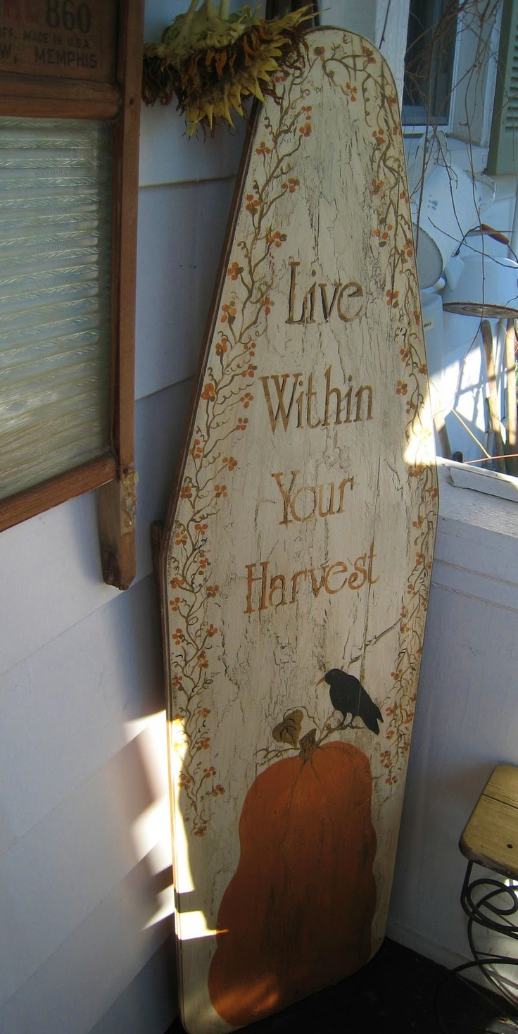 I made from an old wood ironing board. Bought the stencil from Ebay. Used a crackle finish.