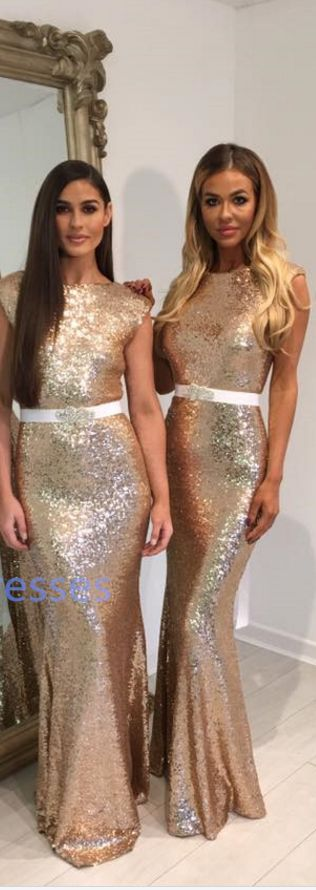 Mermaid Gold Sequins Bridesmaid Dress,Mermaid V-Back Bridesmaid Dresses,Gold Sequins Prom Dress,Sexy Open Back Sequins Prom Gown