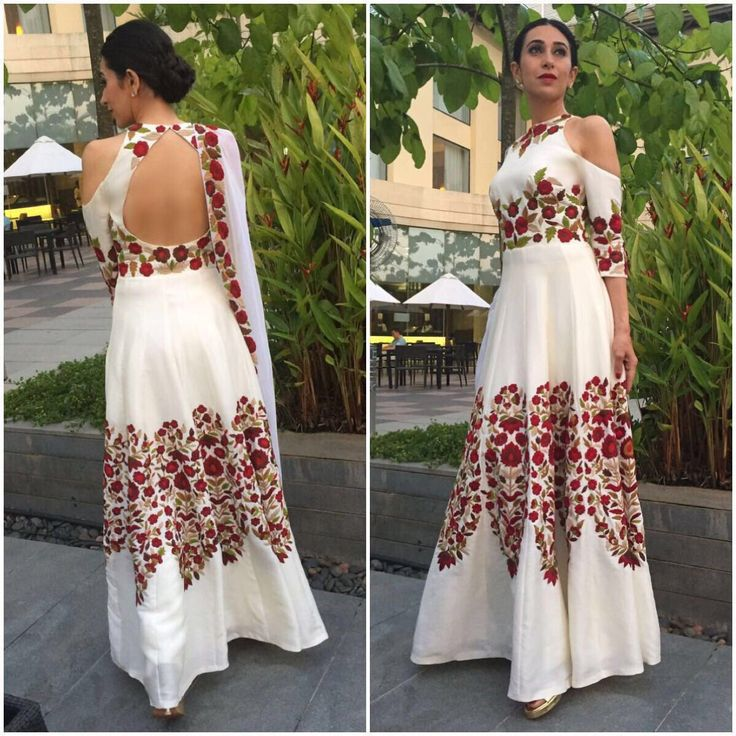 RT: Gorgeous, Stylish, Karisma Kapoor in ivory Thread work, #embrodieryart #festive #signature Manish Malhotra