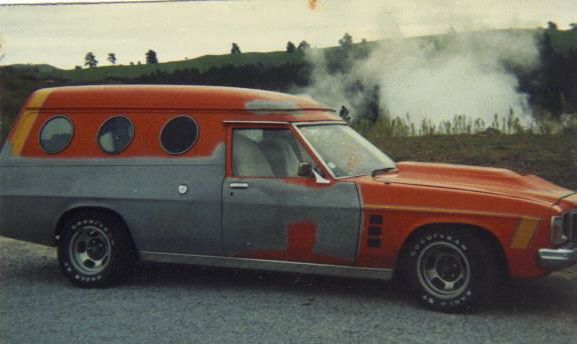 1977 Holden Kingswood HX panel van. Another love hate relationship. Fitted with a well worked Chev 327, the only thing this didn't pass was the petrol station!