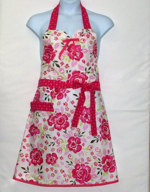 Sweetheart Neckline 2XL Plus Size With Flowers AGFT 1397 Pretty Pink Floral Apron Birthday Gift Personalize With Name Ships TODAY