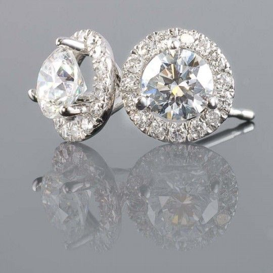 1 Carat Total Weight Margarita Diamond Studs Very Good Cut Set In White Gold