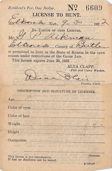 A 1922 State of Kansas hunting license