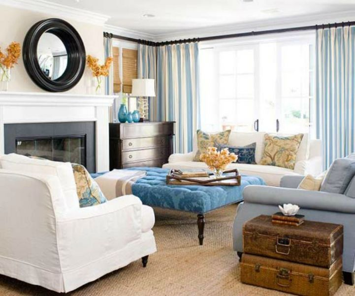 Coastal Living Room With Aqua Blue Accents