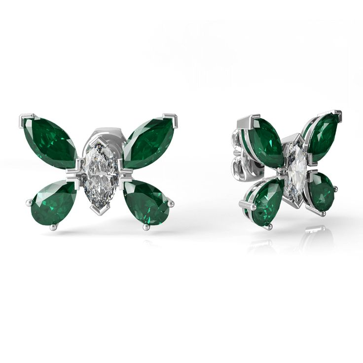 Butterfly diamond and stud emerald earrings.