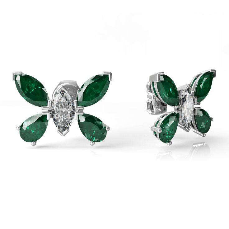 Butterfly diamond and stud emerald earrings.