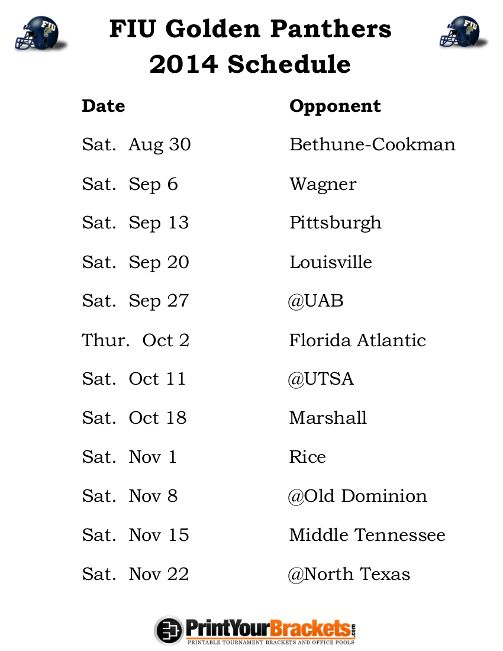 Printable FIU Golden Panthers Football Schedule 2014