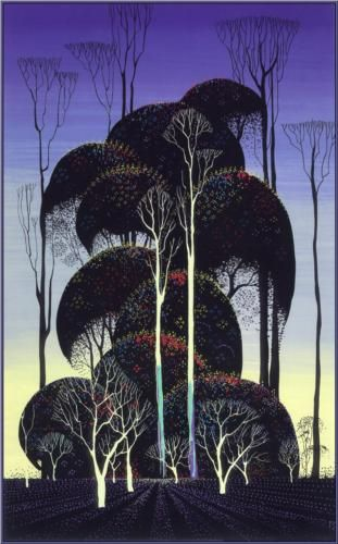 Forest Arabesque by Eyvind Earle, American, 1995. Magic Realism