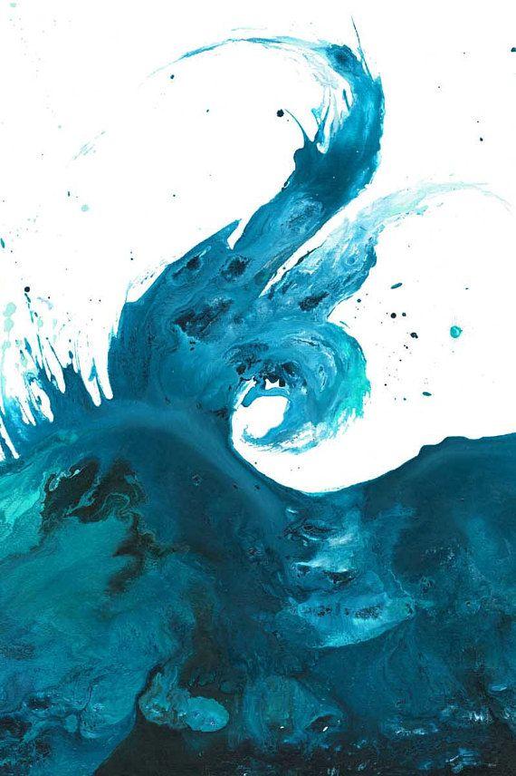Wave Wall Art Ocean Print Beach Decor Ocean Painting Blue Wall
