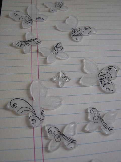shrinky dink butterflies - craft 365 - day 223 by queenvanna creations, via Flickr