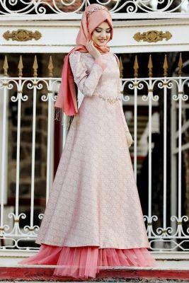 Gamze Polat Narçiçeği Gelincik Tesettür Abiye Elbise